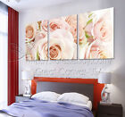 Pale Pink Roses Modern Wall Art Top Quality Canvas Print Set Add Wall Clock