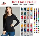 WOMENS CREW NECK LONG SLEEVE FITTED TOP COTTON STRETCH T SHIRT S M L 1X 2X 3X