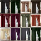 PAIR THERMAL VELOUR VELVET PLAIN DYED PENCIL PLEAT CURTAINS IN MULTIPLE COLOURS