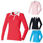 Front Row Classic Ladies Fitted Rugby Shirt Long Sleeved 100% Cotton S - XXXXL