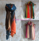 3 Tone Color Gradient Dyed Art Pashmina Scarf Shawl Stole Fringed