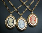 ATTRACTIVE CAMEO PENDANT NECKLACE WITH LOCKET GOLD PLATED CHAIN AND LOCKET
