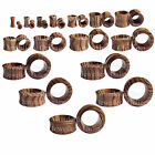 """1 x Zebra Wood Double Flared Ear Tunnel Choice of Size 8Gauge - 1 3/16"""" 3mm-30mm"""