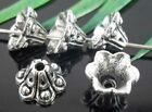 60/220Pcs Tibetan Silver Flower-Dot End Bead Caps 9x6mm