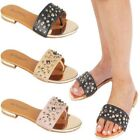 Ladies Designer Summer Toe Post Sandals Women Sudded Bar Strap Trims Flat Shoes