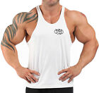 WHITE EMBROIDERED T-BACK BODYBUILDING VEST WORKOUT GYM CLOTHING