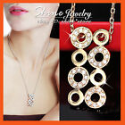 18K GOLD GF P185 SWAROVSKI CRYSTAL Circles WEDDING WOMENS SOLID NECKLACE PENDANT