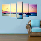 Seascape In Sunset Huge Size Multiple Canvas Print Set 150x90cm Choice Of Clock