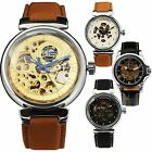 STEAMPUNK RETRO SKELETON MEN DRESS CASUAL AUTO Mechanical Wrist Watch Leather-65