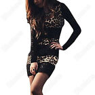 WOMENS SEXY LEOPARD CLUBWEAR WRAP MINI DRESSES COCKTAIL SKIRT PARTY DRESS TIGHTS