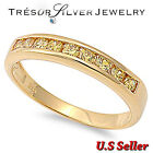 sterling silver yellow cz Gold plated womens wedding band ring size 5 6 7 8 9 10