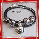 BLACK GENUINE AUTHENTIC LEATHER & 925 STERLING SILVER CLASP BRACELET FOR BEADS