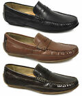 MONZA Mens Premium Quality Leather Driving Penny Loafers Shoes Black/Brown/Tan