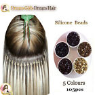 105pcs I Tips Hair Extensions Silicone Micro Beads/ Rings  Black,Brown,Blonde