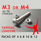 M3 Pozi Pan Machine Screws, Nuts & Washers. A2-70 Stainless Steel. Packs of 4.