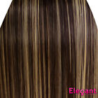 Clip in Hair Extensions STRAIGHT Dark Brown/Blonde Mix #4/613 FULL HEAD