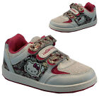 HELLO KITTY FASHION VELCRO KIDS TRAINERS PUMPS SHOES SIZE 8-2UK WHT PINK
