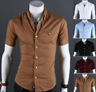 Men Stylish Luxury Casual Slim fit Short Sleeves Dress Shirt 5 Colors