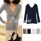 Hot Causal Women's V-Neck Side Furcal Long Sleeve Basic Tee T-Shirts Tops Blouse