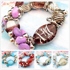1pc Coloured Glaze Heart Gemstone Silvered Stretch Bracelet Bangle SD531