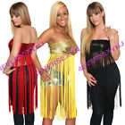 Sexy Stretch Sequin Long Fringe Tassel Tube Club Top Exotic Stripper