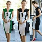 New V Crew Women Contrast Color blocked Bodycon Pencil Stretchy Party Dress Y680
