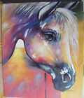 "COLOURFUL ABSTRACT HORSE ART OIL PAINTING 20x24"" STRETCHED"