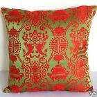 Cushion Cover (Hot Red Twin Fish on Willow )Custom Made, Chinese Brocade