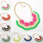 Multi Color Jewel Resin Bubble Crystal Fan Fringe Cabochons Bib Necklace Outfit