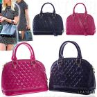 WOMEN Patent Crossbody Tote QUILTED DOME SATCHEL Evening Party BOWLER BAG PURSE