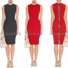 Career Women Sleeveless Stretchy Zipper Bodycon Wiggle Pencil Party Dress Y591