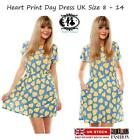 LADIES WOMEN LOVE HEART PRINT SHIFT DRESS SKATER DAY SUN TUNIC MINI VINTAGE BOHO