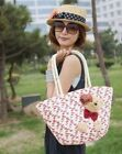 New Cute Bear Rural Handmade Straw Handbag Shoulder Bag Shopping Purse #4