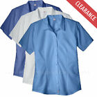 Women's Shirts Dickies Stretch Oxford Work Shirt Short Sleeve FS011 White Blue