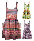 Womens Ladies Sleeveless  Bra Cup Flared Frankie Mini Party Skater Dress UK 8-14
