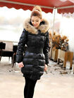 Winter Women's Real Recoon Fur Hooded Slim Fit Long Duck Down Coat Parka Puffer