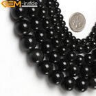 "A Grade Genuine Black Obsidian Gemstone Beads Natural Stone Strand 15"" Round"