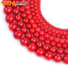 "Red Coral Stone Beads For Jewelry Making 15"" Dyed  Natural Coral Jewelry Beads"