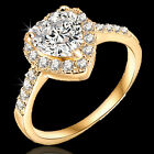 9K GOLD GF R37 SIMULATED DIAMONDS LOVE HEART ENGAGEMENT BRIDAL LADIES SOLID RING