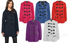 Ladies New Fleece Jacket Duffle Style Hooded Pocket Toggle Coat Top Size 8-20