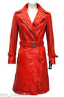 Charlotte Red Ladies Woman's Smart Designer Retro Glazed Real Leather Jacket