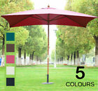 3m x 2m Wood Wooden Garden Parasol Sun Shade Patio Outdoor Umbrella Canopy New