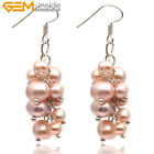 3-4mmx5-6mm Freshwater Pearl Dangle Earrings Sterling Silver Hooks ,Colors Pick