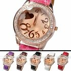 Women's Big Dial Number Crystal Decorated Love Heart Analog Quartz Wrist Watch