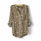 Women Sexy Casual Leopard Print V -Neck Chiffon Long Sleeve Shirts Blouse Tops