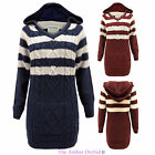 LADIES WOMENS HOODED STRIPED CABLE KNITTED PULLOVER CHUNKY TOP SWEATER JUMPER