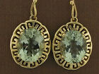 E090 SOLID 9ct Gold Grecian key Drop Earrings Natural Amethyst or yr choice gems