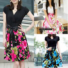 AU SELLER Celeb Style Casual Flowery Pattern Party Beach OL Slim Dress dr079