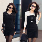 NEW Women's Sexy Lace Mini Dress Cocktail Long Sleeve Round Neck Shirt Tops