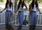 FOLD OVER CLASSY NAVY BLUE CHIC TALL WIDE FLOWY YOGA SUVA PALAZZO PANTS S M L